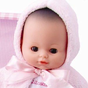 Babypop Petit Collin met roze koffer