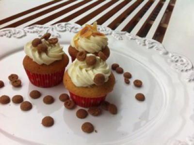 Speculaascupcakes met witte chocolade ganache